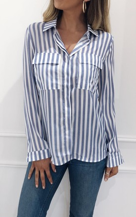 Skyla Stripe Shirt - Blue by Pretty Lavish