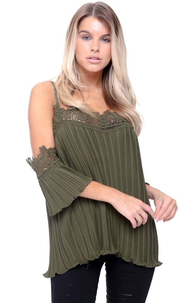 ada7df94bd8f Khaki Green Cami Off The Shoulder Lace Pleated Blouse Top by Urban Mist
