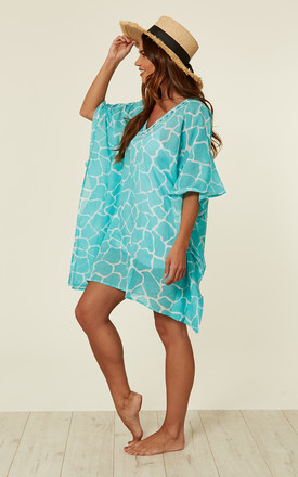 Giraffe Print Kaftan in Aqua by Kitten Beachwear