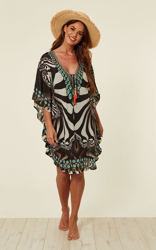 Paola Monochrome Kaftan with Tassels by Kitten Beachwear