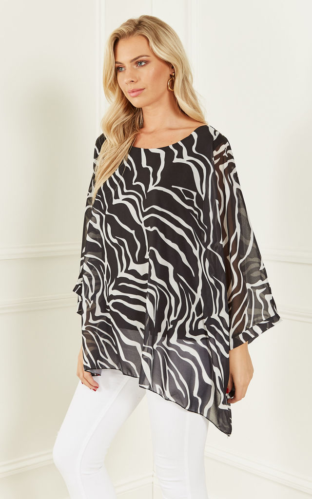 Black Zebra Print Batwing Top by Bella and Blue