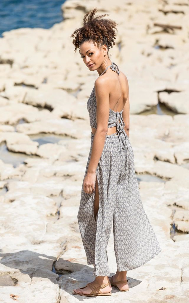 Side Split Beach Trousers Wide Leg Fleurs Print by likemary