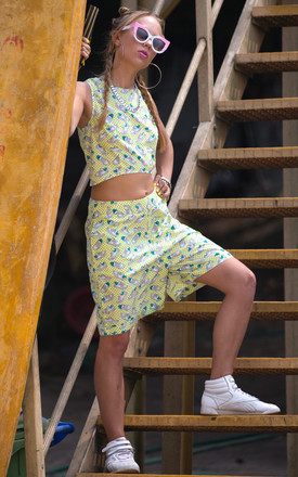 Donna Yellow Sneaker Print Cotton Board Shorts by Krissyfied Boutique