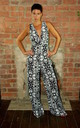 High Fitted V-Neck Jumpsuit Black and White Print by House Of Lily