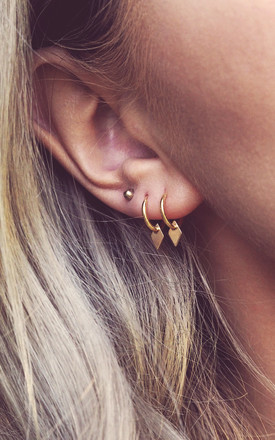 KAIA. Gold Mini Diamond Shape Charm Hoops by Aluna Mae