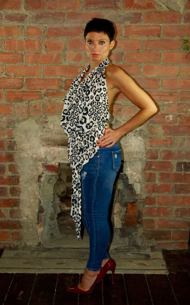 Backless Cowl Drape Top- Snow Leopard by House Of Lily