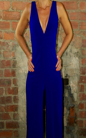 High Fitted V-Neck Jumpsuit Cobalt Blue by House Of Lily