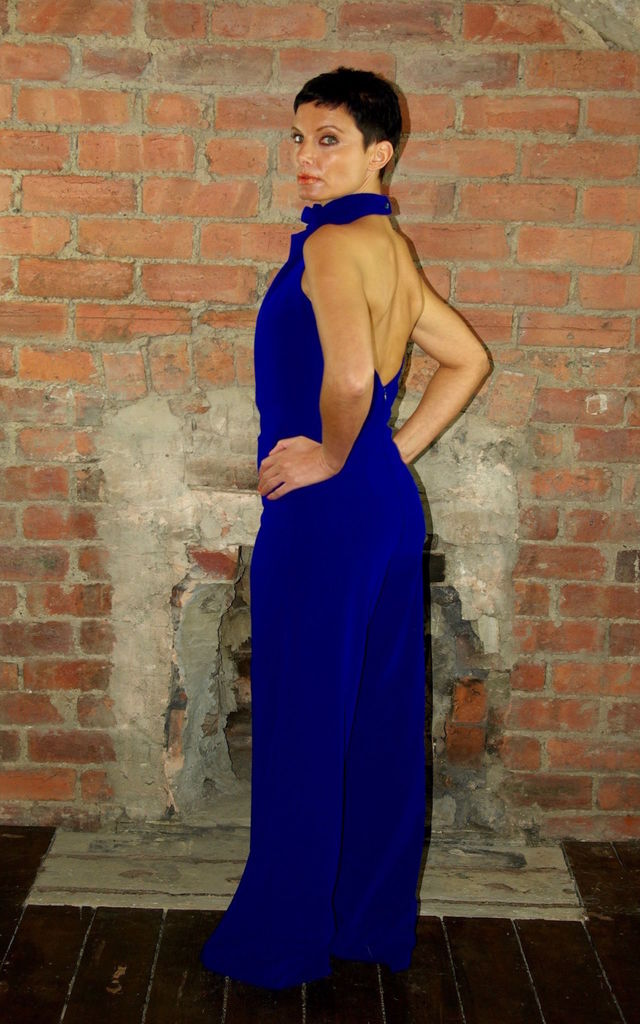 High Neck Backless Jumpsuit Cobalt Blue by House Of Lily