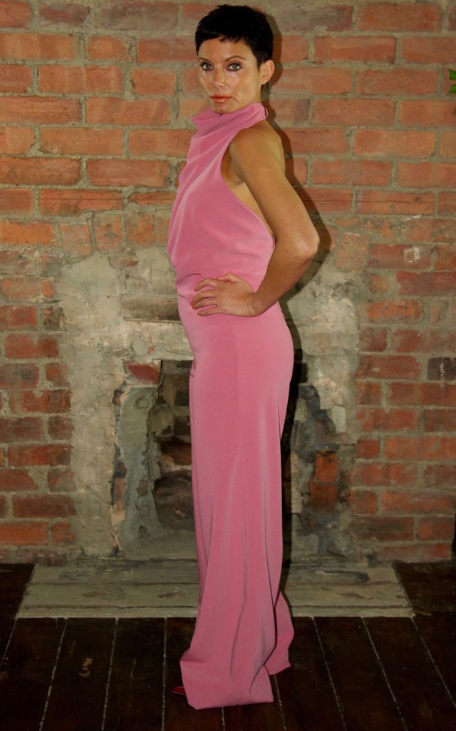 High Neck Backless Jumpsuit Pink by House Of Lily