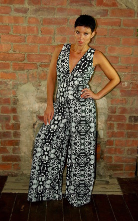 Wide Legged V-Neck Jumpsuit Kaleidoscope Print by House Of Lily