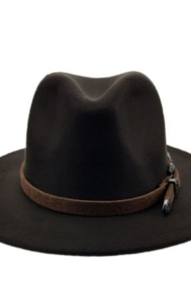 Brown coffe buckle fedora Hat by Kate Coleman