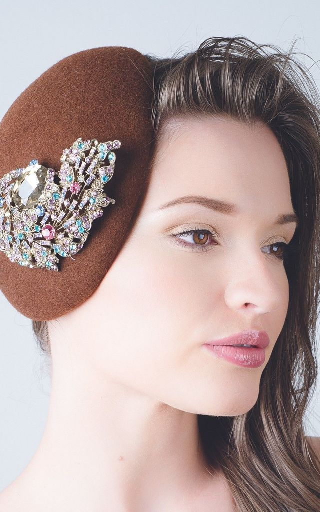 Crystal oyster pillbox wedding guest hat by Kate Coleman