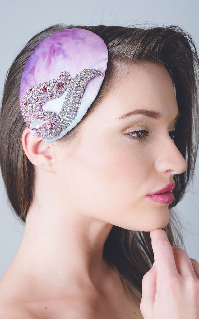Pink feather wedding guest headpiece hat by Kate Coleman