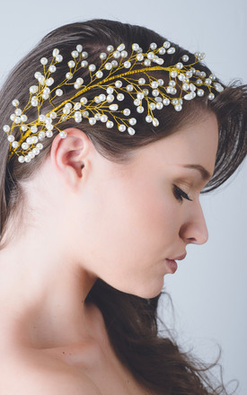 Gold Feather Pearl Vine Bridal Headpiece by Kate Coleman