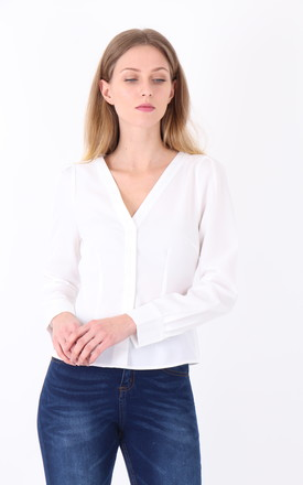 White V Neck Long Sleeves  Button down Shirt by MISSTRUTH
