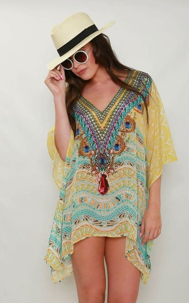 Limoncello V Neck Kaftan by Kitten Beachwear