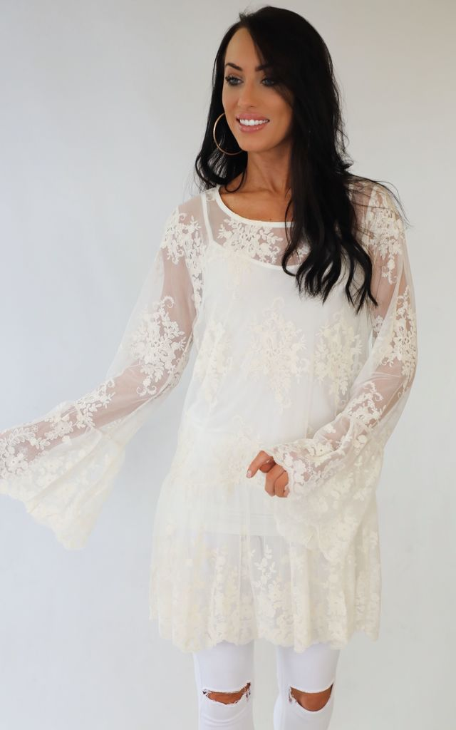 1d14badd5fe Spellbound Cream Lace Tunic Summer Dress | Wired Angel | SilkFred