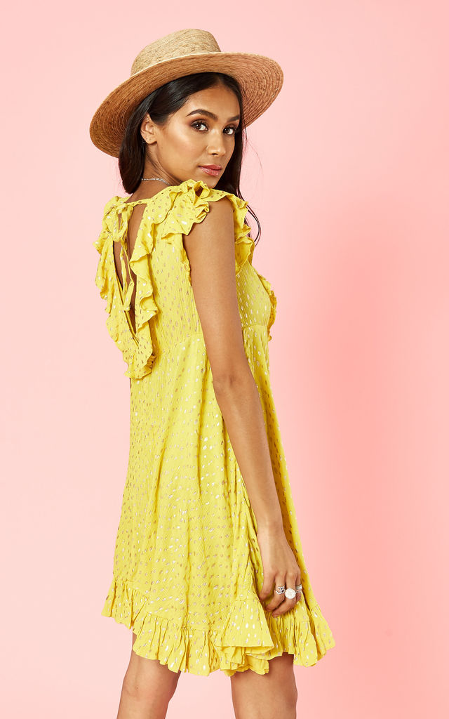 Yellow Spotty Dress With Open Back by Glamorous