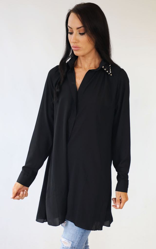 Black Stud Collar Shirt Tunic Top by Wired Angel