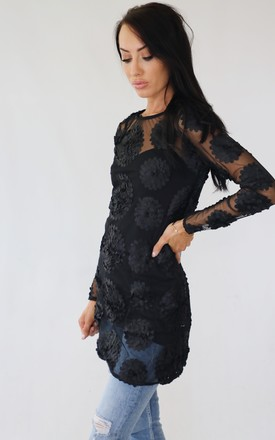 Flowerchild Black Embroidered Floral Mesh Summer Tunic Top by Wired Angel