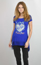 BLUE LOVE FREEDOM PRINT ELONGATED T-SHIRT by Lucy Sparks