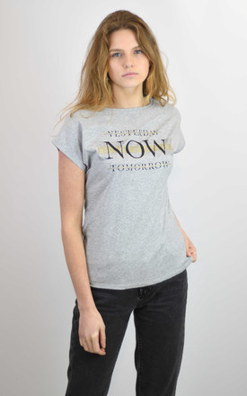 GREY T-SHIRT WITH YESTERDAY NOW TOMORROW GLITTER PRINT by Lucy Sparks