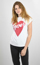 WHITE T-SHIRT WITH GLITTER HEAR LOVER PRINT by Lucy Sparks