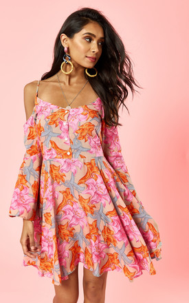 Orange And Pink Lillies Print Cold Shoulder Dress by Glamorous Product photo