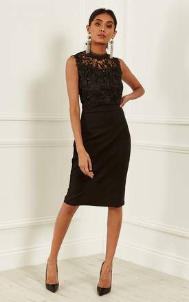 Black Lace High Neck Dress by Bella and Blue Product photo