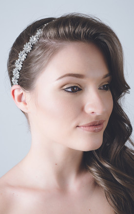 Silver crystal daisy wedding hair accessory by Kate Coleman