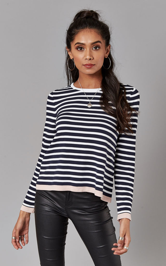 Night Sky With Cloud And Rose Stripe Long Sleeve Top by ONLY