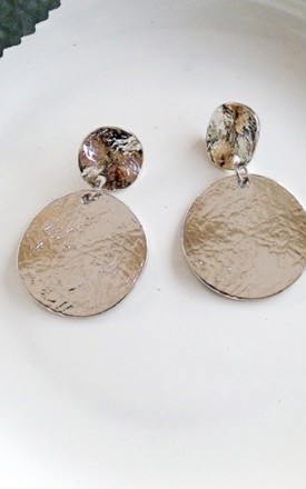 Silver Circle Textured Earrings by HAUS OF DECK