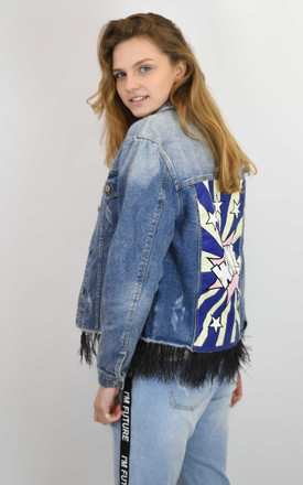BLUE DENIM JACKET WITH FEATHERS by Lucy Sparks