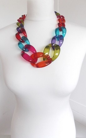 Chunky Multi Coloured Acrylic Chain Statement Necklace by Olivia Divine Jewellery Product photo