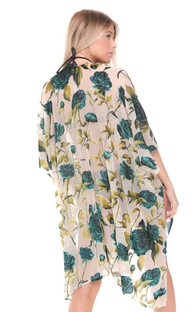 Green and Beige Velvet Floral Embroidered Holiday Kimono by Urban Mist