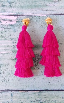 Pink Tiered Tassel Clip-on Earrings by Olivia Divine Jewellery