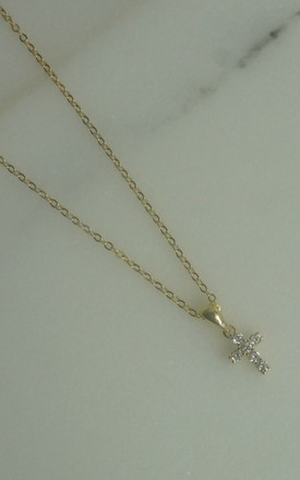 GOLD PLATED MINI CROSS PENDANT WITH MICRO CUBIC ZIRCONIA STONES by EPITOME JEWELLERY