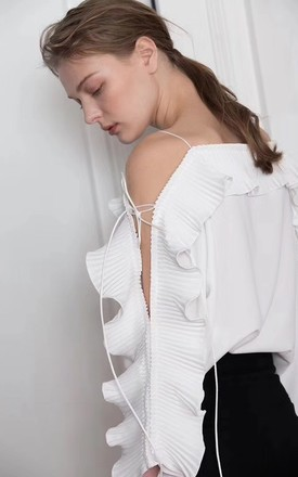 White Pleated Ruffle Tie Sleeve Strappy Off Shoulder Top by Urban Mist