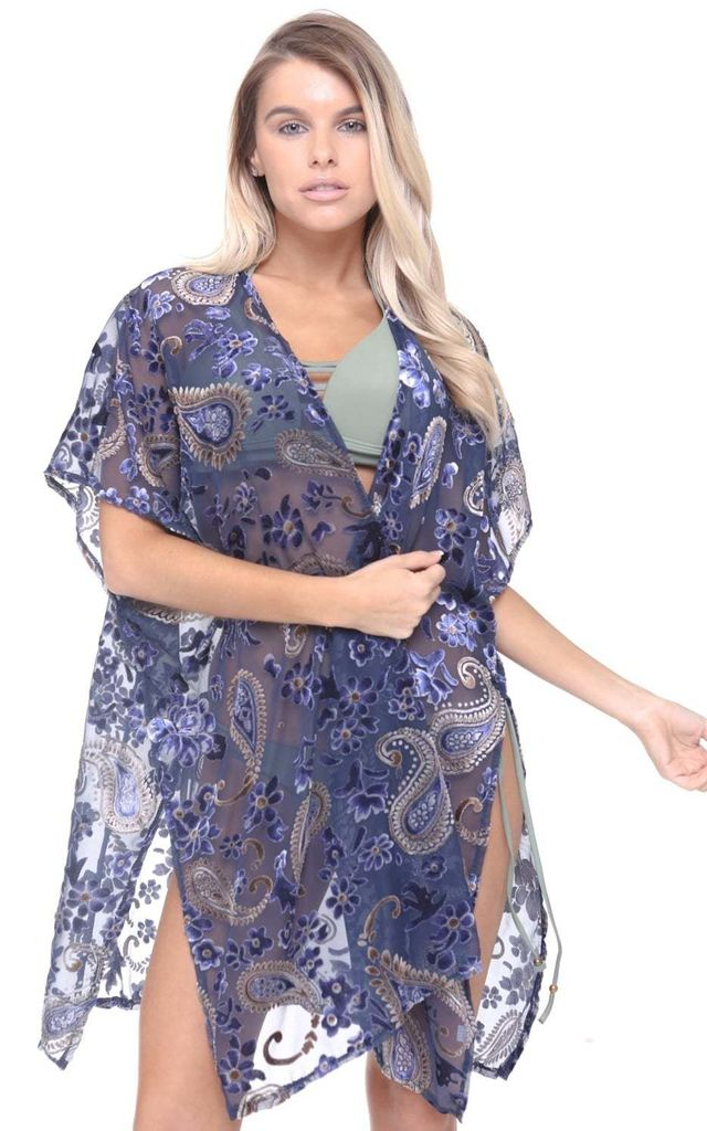 Purple Blue Velvet Paisley Design Side Split Open Front 3/4 Sleeve Kimono by Urban Mist