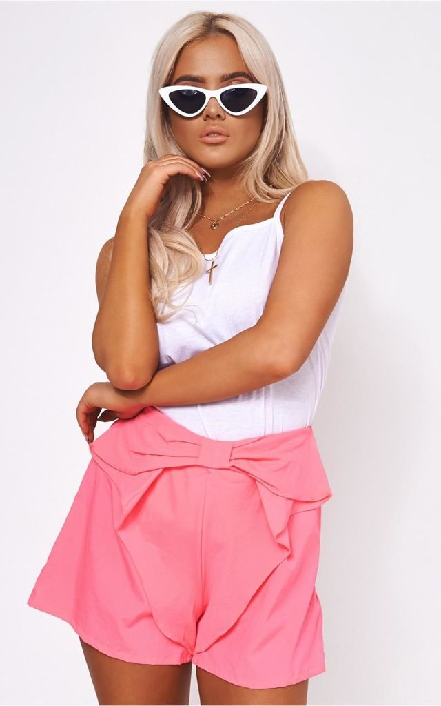 Neon Pink Bow Front Shorts by The Fashion Bible