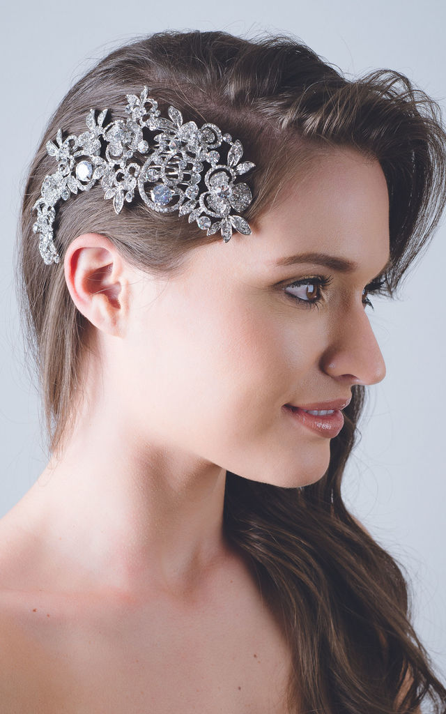 Bridal silver wilderness flower leaf crystal headdress by Kate Coleman