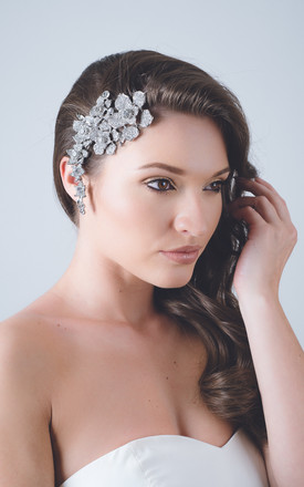 Daisy silver crystal bridal headdress haircomb by Kate Coleman