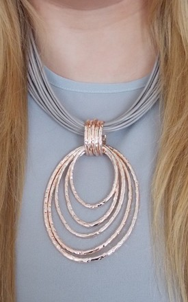 Multi-Cord and Rose Gold Statement Necklace by Olivia Divine Jewellery