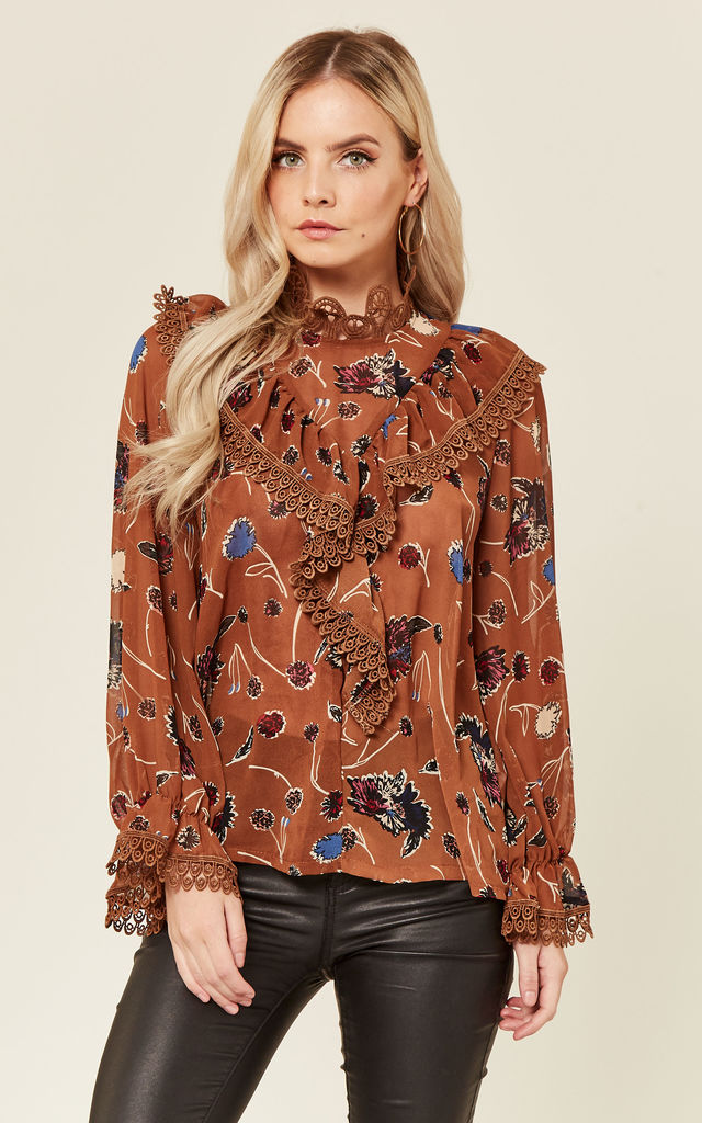 78c29d0659daaa Burnt orange Floral Frill Pussy Bow Blouse by Amy Lynn