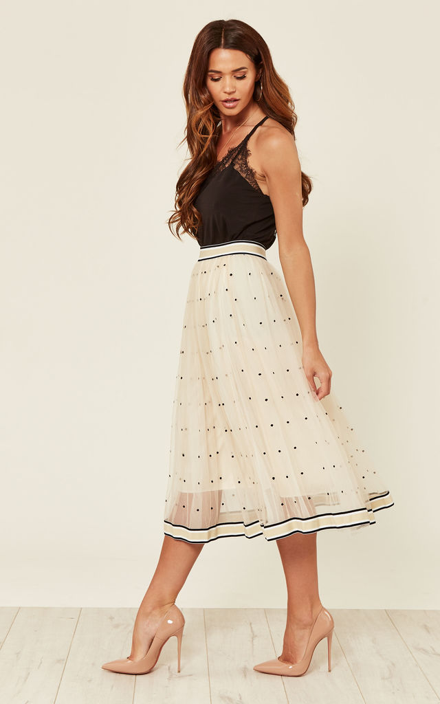 Heather Polka Dot Midi Skirt Cream by Amy Lynn