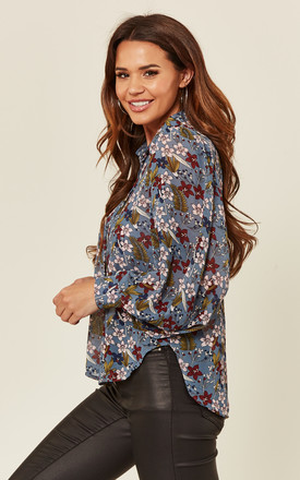 Fern Blue Floral Long Sleeve Blouse by Amy Lynn
