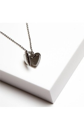 Johnny Loves Rosie Gracie Silver Heart Locket Necklace by Johnny Loves Rosie