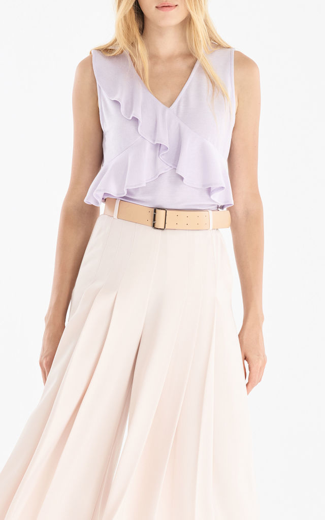 V-Neck Top with Ruffle Overlay in Lilac by Paisie