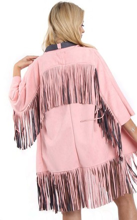Baby Pink Faux Suede Fringed Festival Jacket by Urban Mist