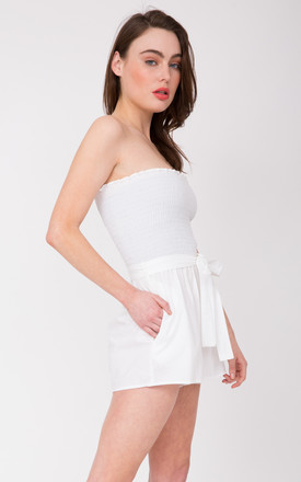 2 in 1 Cotton Bandeau Playsuit and Shorts White by likemary